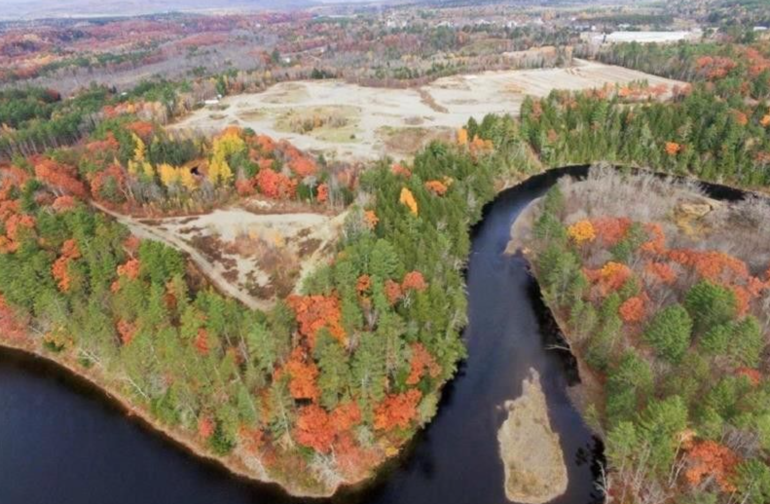 The 85+ acre property can be seen here. All of the open areas are part of the property as is the peninsula of over 500 yards of river frontage on the Kennebec river.
