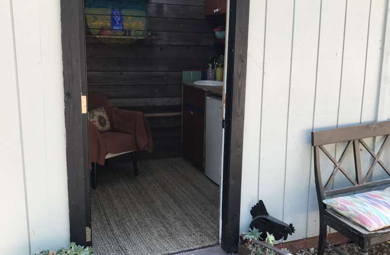 Entrance of cozy tiny house😍