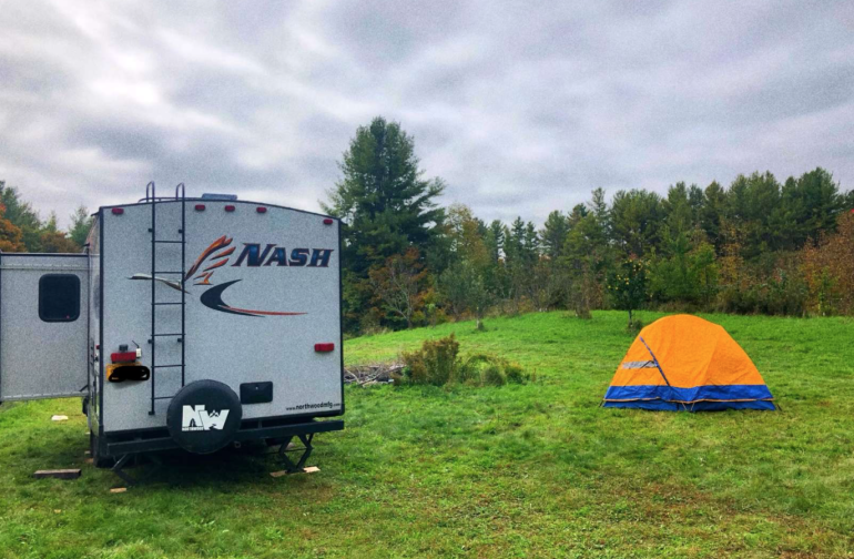 We have 2-3 flat grassy areas that are just right for parking & leveling your camper/trailer. Each site has its own personality & appeal. Upon arrival, you can select which site is the best fit for you & your group.